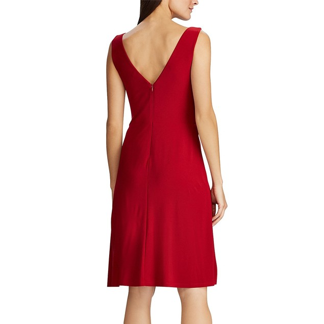 Ralph Lauren Womens Missy Crystal-Brooch Gathered Dress Red Size 14