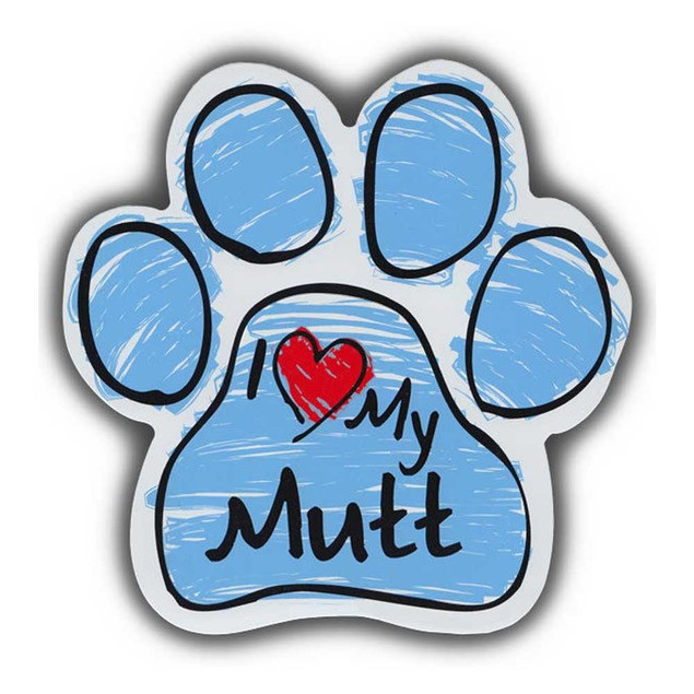 Blue I Love My Mutt Scribble Paw Magnet
