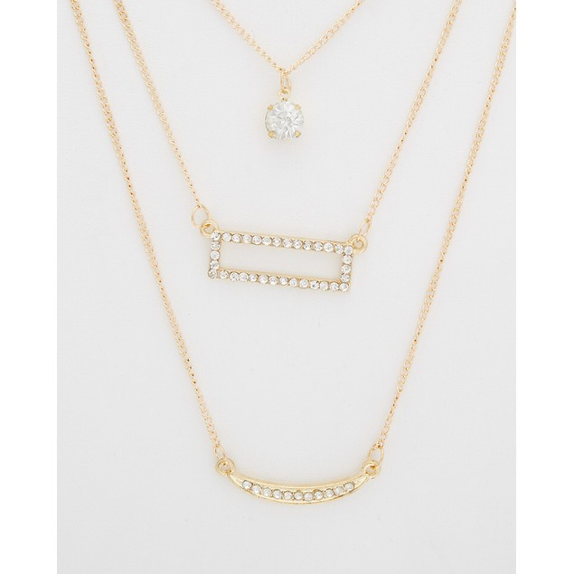 Triple Layer Necklace with Crystal Bars & Pendant
