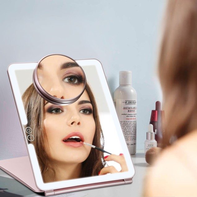 LED MAKEUP MIRROR FOR TRAVEL PORTABLE LIGHTED RECHARGEABLE 3X MAGNIFIER
