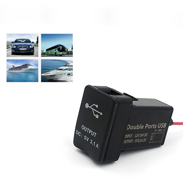Car Dual USB Ports Dashboard Mount Charger For TOYOTA