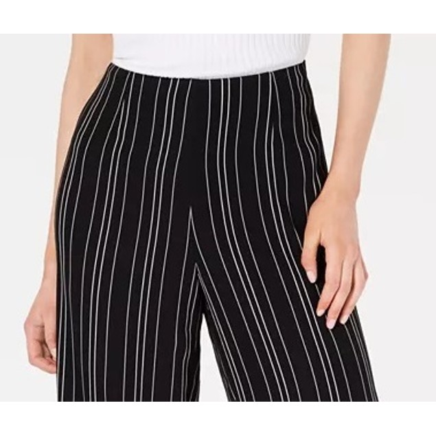 Bar III Women's Cropped Stripe Pants Black Size 12