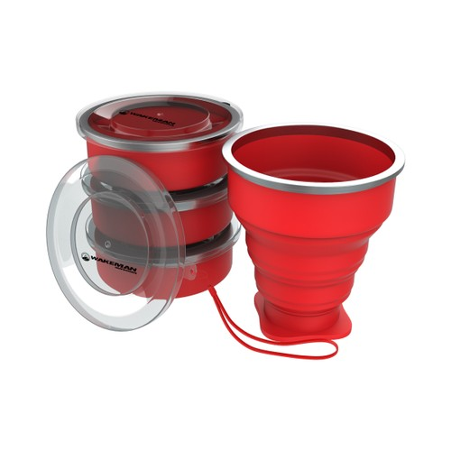 Collapsible Travel Cups- BPA Free, FDA Approved Reusable 6 Oz Drink Cups for Camping, Fishing, Picnics, More by Wakeman Outdoors (4 Pack, Red)