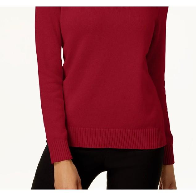 Karen Scott Women's Cotton Zip Neck Sweater Bright Red Size X-Small