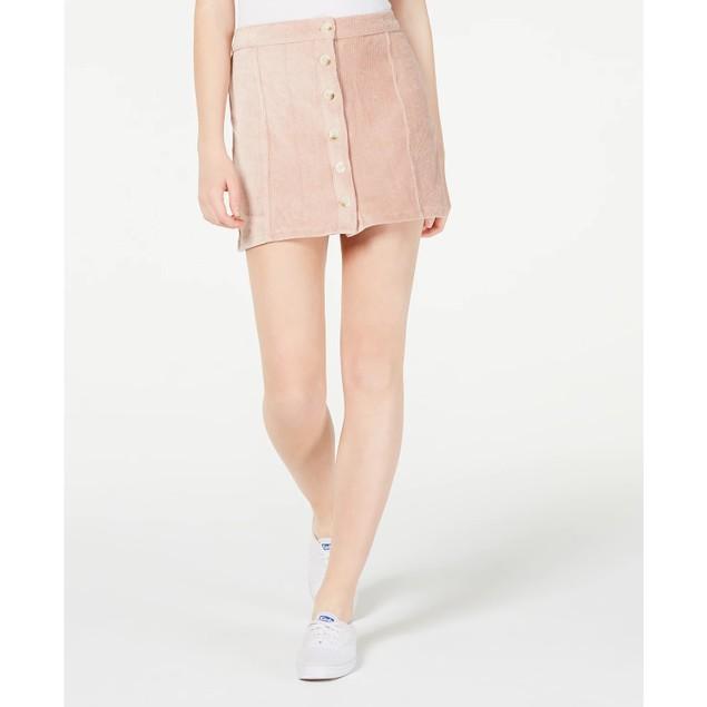 Rewash Juniors' Corduroy Button-Front Skirt Pink Size Large