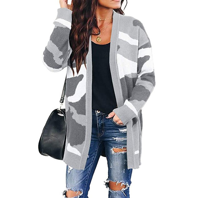 Women's Camouflage Mid-Length Knitted Cardigan
