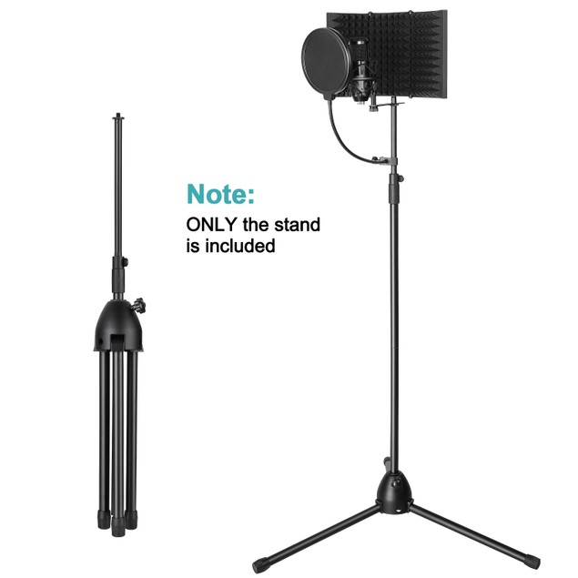 MICROPHONE STAND ADJUSTABLE HEIGHT FOLDABLE DESIGN 33.46-68.9IN (BLACK)