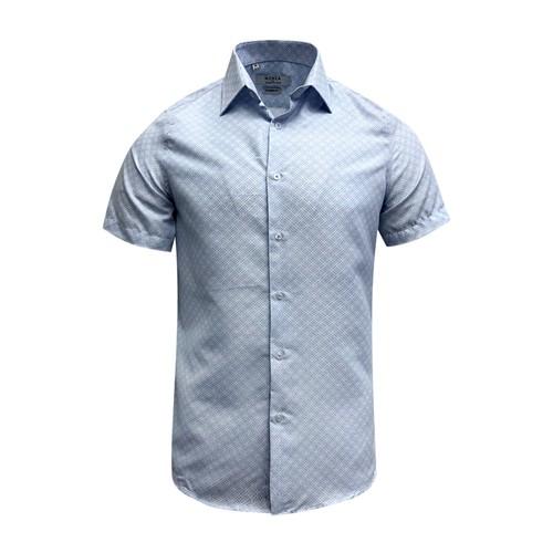 Monza Modern Fit Short Sleeve Blue Geometric Dress Shirt
