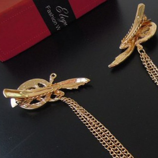 Retro Gold Angel Feather Tassels Side Clip Hair Band Hairpin