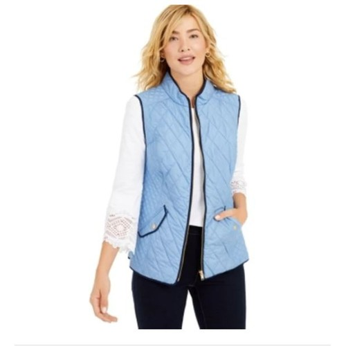 Charter Club Women's Quilted Stand Collar Vest Blue Size XX-Large