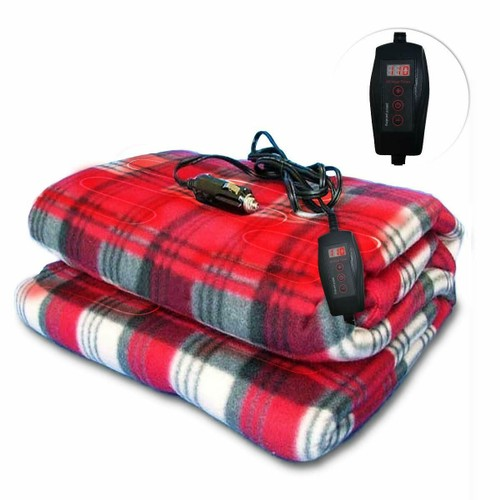 Zone Tech Car Heated Red Plaid Warm Travel Electric Blanket 45 Min Timer