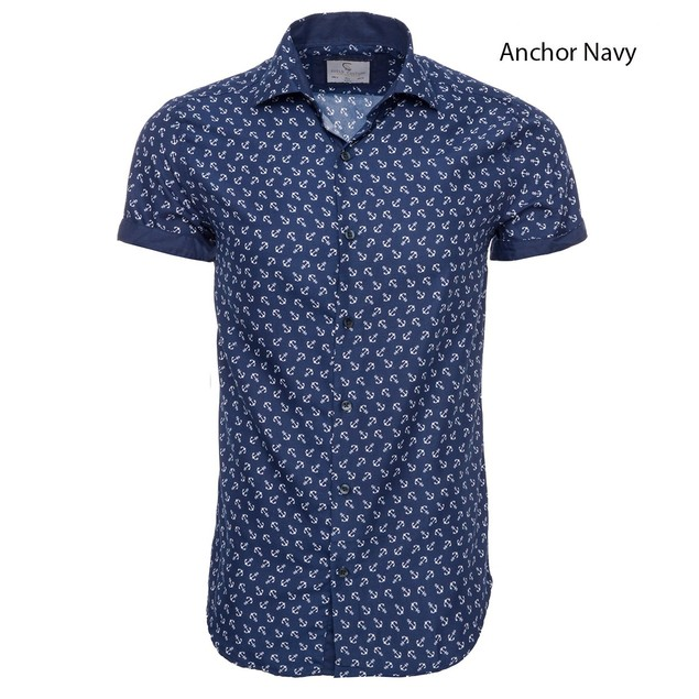 Suslo Couture Men's Slim Fit Geo-Metric Classic Short Sleeve Button Down