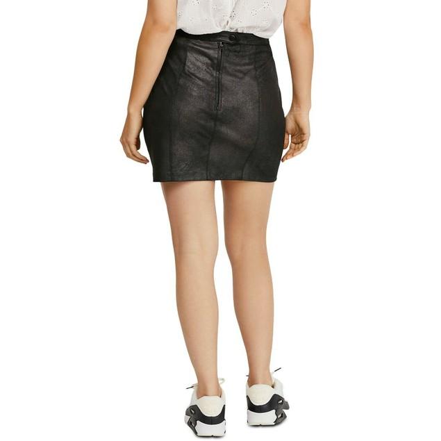 Free People Juniors' Rumi Ruched Mini Skirt Black Size Large