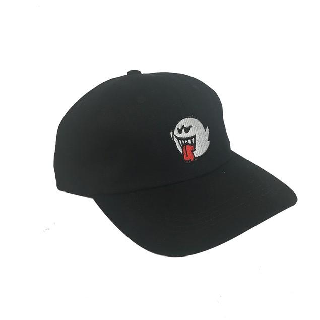 Ghost Boo Black Hat Baseball Cap Super Mario Bros Dad Buckle