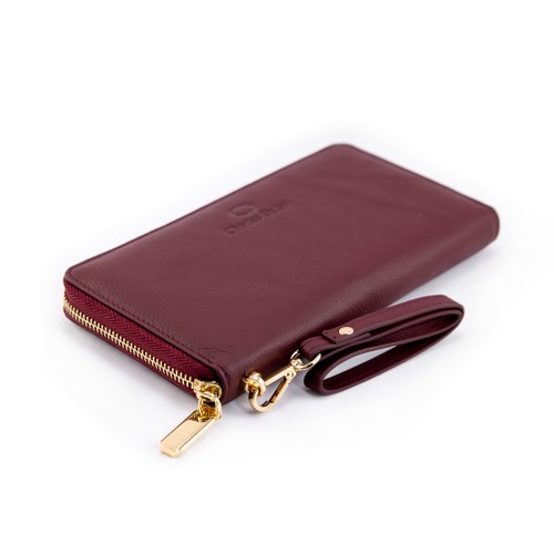 Charles Delon Womens Zip-Around Wallet Burgundy with Removable Wrist Strap