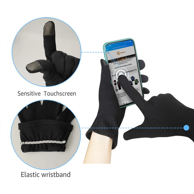 2-Pair 100% Cotton Touchscreen Moisturizing Beauty Gloves with Elastic Cuff