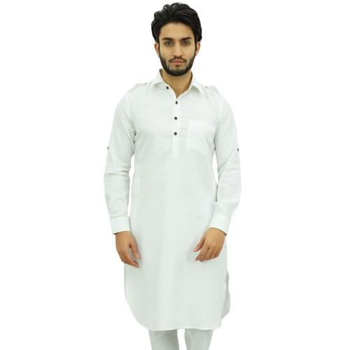 Atasi Men's Classic White Pathani Style Kurta Long Cotton Shirt