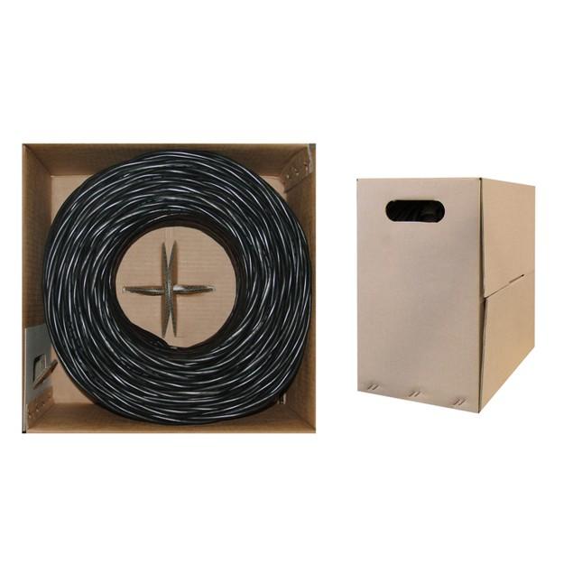 Bulk Cat5e Black Ethernet Cable, Stranded, UTP  Pullbox