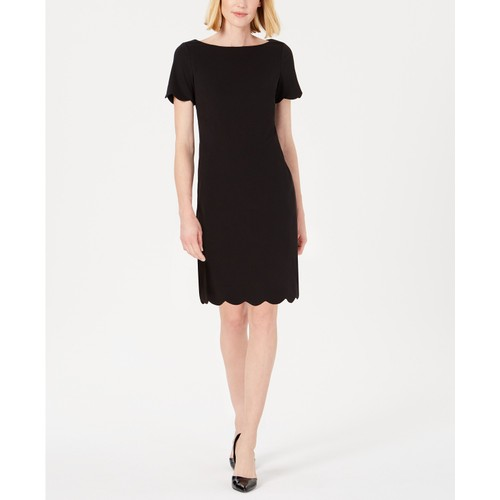 Kasper Scalloped Women's Crepe Dress Black Size 14