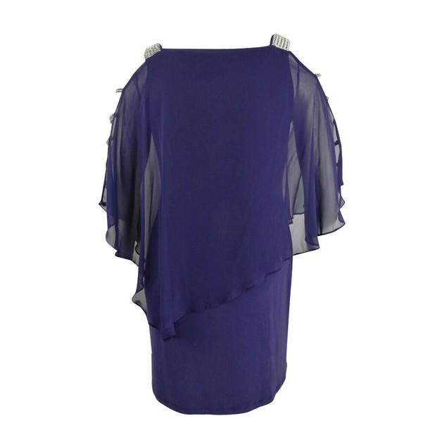 Msk Women's Embellished Dress Purple Size Large
