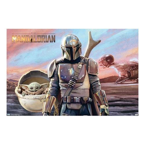 Star Wars: The Mandalorian - Mando And Grogu With Ship Wall Poster