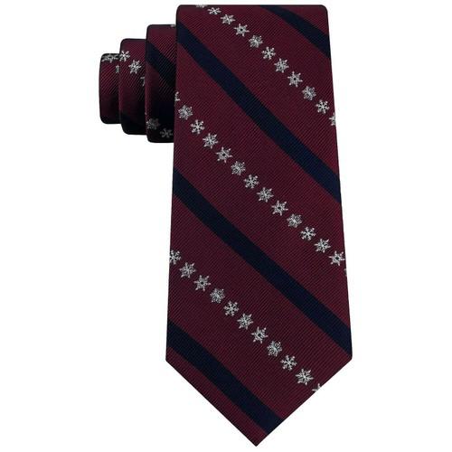 Tommy Hilfiger Men's Snowflake Stripe Tie Dark Red Size Regular