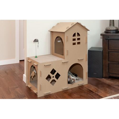 FurHaven Corrugated House Cat Scratcher with Catnip