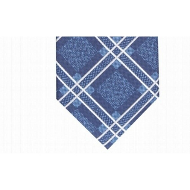 Perry Ellis Men's Denner Classic Plaid Tie Navy Size Regular