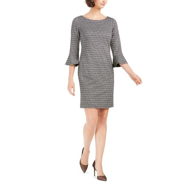 Jessica Howard Women's Petite Striped Sheath Dress Gray Size 14