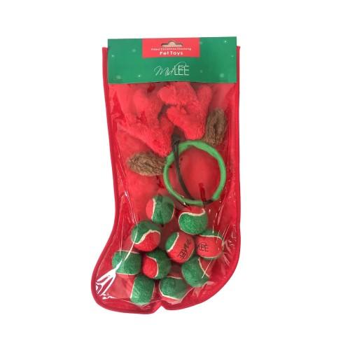 Midlee Filled Dog Stocking- Reindeer Antlers and 10 Mini Tennis Balls