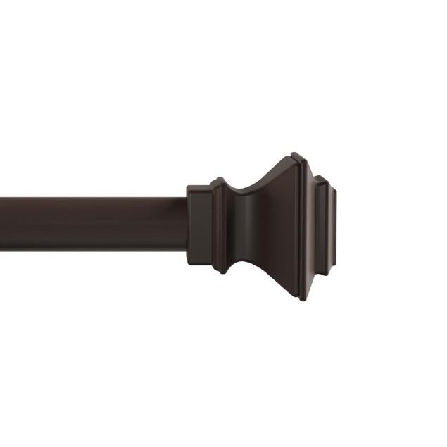 Curtain Rod- Decorative Modern Square Finials & Hardware- 66-120-Inch