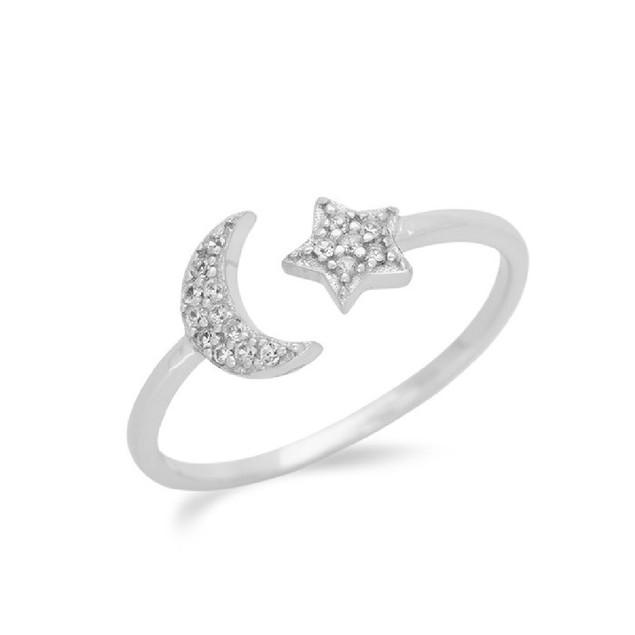 Homvare Women's 925 Sterling Silver Moon Star Ring - Silver