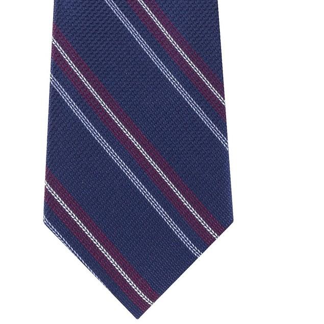 Tommy Hilfiger Men's Classic Textured Stripe Tie Red Size Regular