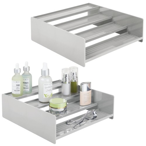 mDesign Plastic Bathroom Medicine Organizer, 4 Level Shelf, 2 Pack