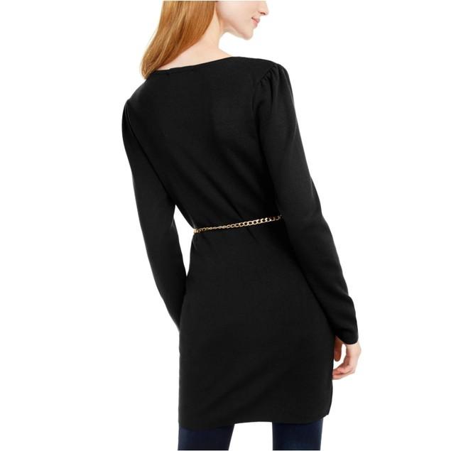 INC International Concepts Wo Chain-Belt Sweater Tunic Black Medium