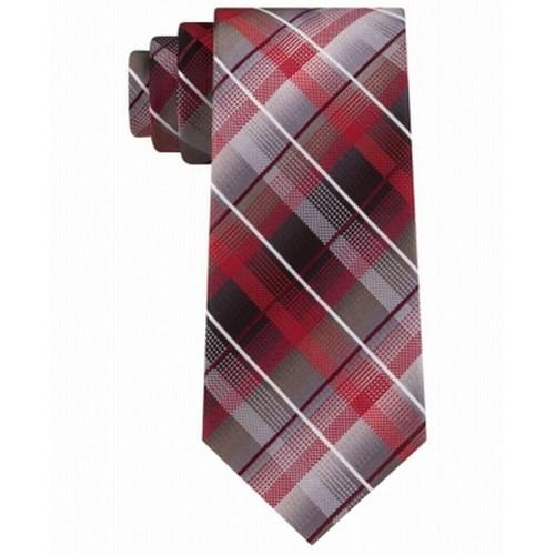 Van Heusen Men's Edmonds Classic Plaid Tie Red Size Regular