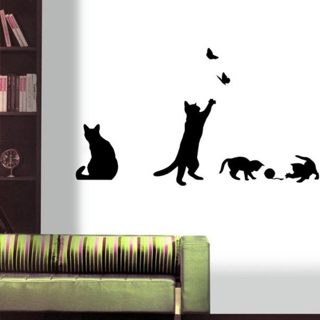 Cats Butterfly Wall Stickers Art Decals Mural Decor Home DIY