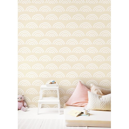 """96023-1 Scallop Peel and Stick Wallpaper Beige 17.7""""x 19.7ft"""