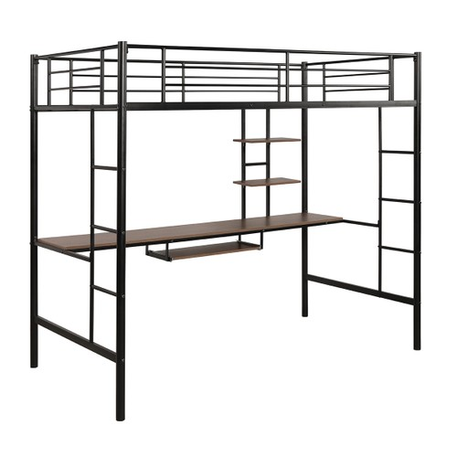 Costway Twin Size Loft Bunk Bed Metal Space Saving Bed Workstation W/Keyboa