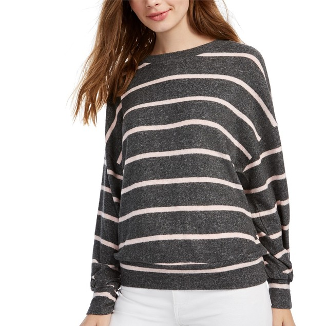 Gypsies & Moondust Juniors' Cozy Striped Dolman-Sleeve Top Brown Size Large