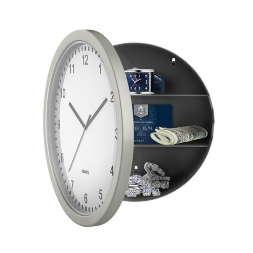 Hidden Compartment Wall Clock 10 in. Battery Operated