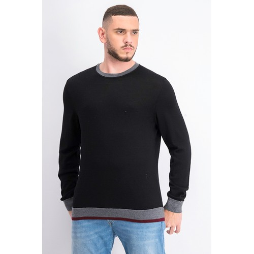 Tasso Elba Men's Merino Wool Blend Sweater Black Size Large
