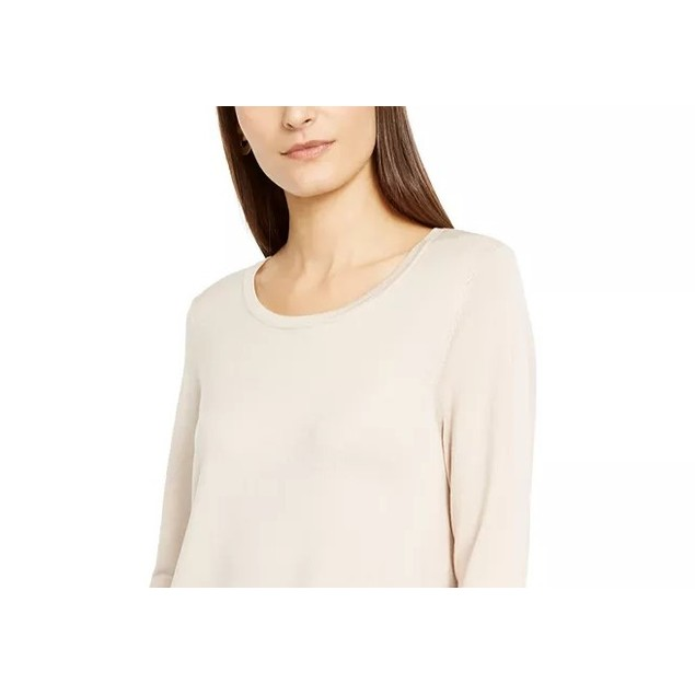 Alfani Women's Petite Hardware Seamed Pullover Sweater Beige Size 44
