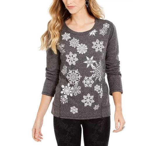 Style & Co Women's Snowflake Embellished Sweatshirt Black Size Large