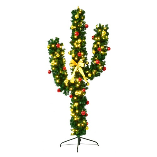 Costway 5Ft Pre-Lit Cactus Christmas Tree LED Lights Ball Ornaments