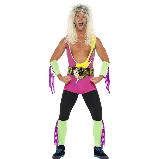 Retro Wrestler Costume Ultimate Warrior WWF WWE Rockers 80's 90's Adult