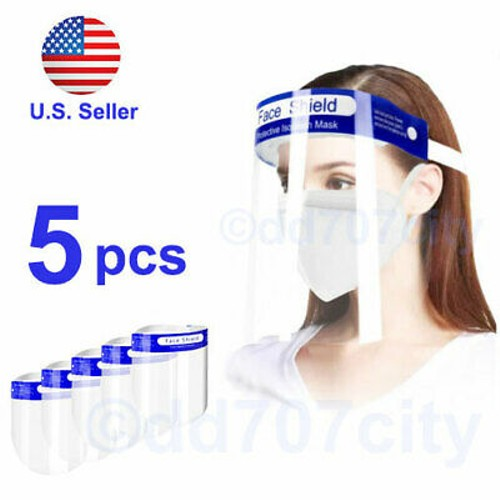 5pcs Safety Full Face Shield Reusable Washable Protection Cover Mask A