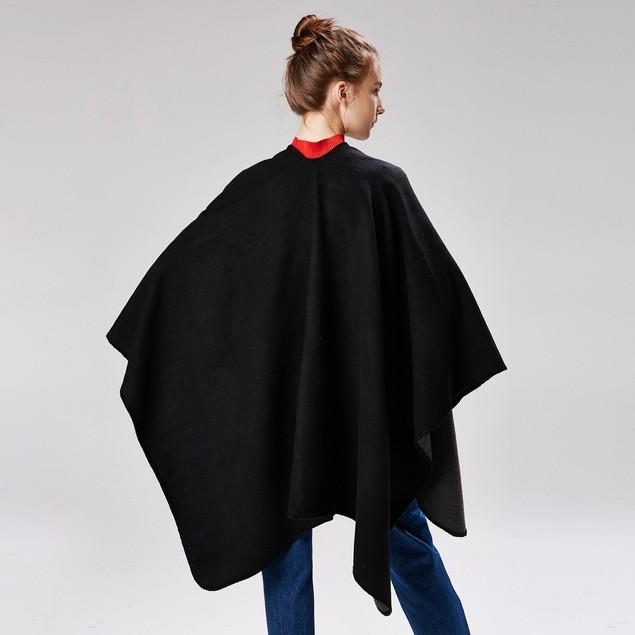 Ladies' Large Slit Shawl Warm Monochrome Cloak