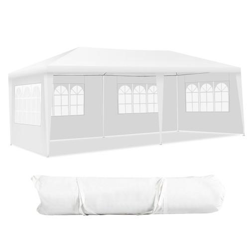 Costway 10'x20' Canopy Tent Heavy Duty Wedding Party Tent 4 Sidewalls W/Car