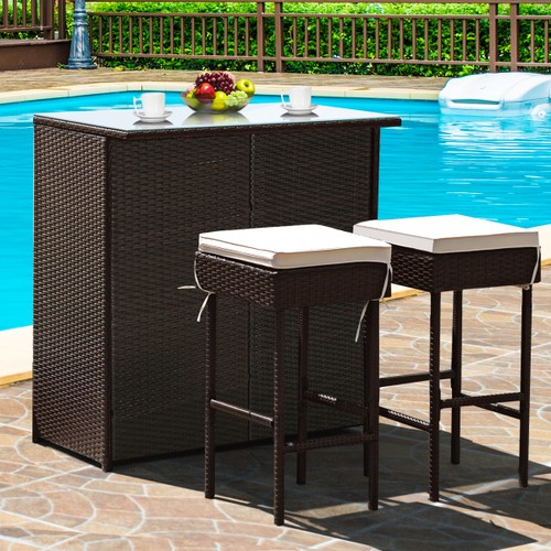 Costway 3PCS Patio Rattan Wicker Bar Table Dining Set